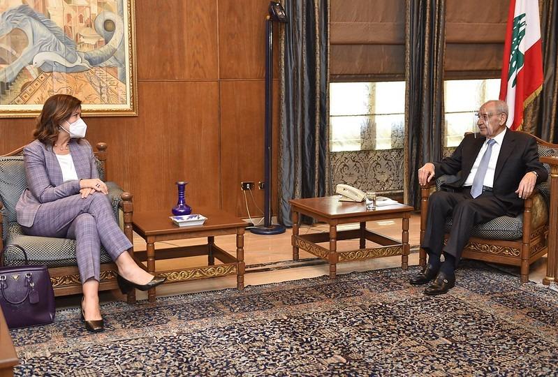 الرئيس بري يستقبل السفيرة الاميركية..  وتلقى برقيات تهنئة من الرئيسين المصري والفلسطيني